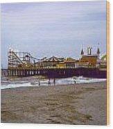 Casino Pier Boardwalk - Seaside Heights Nj Wood Print by Glenn Feron
