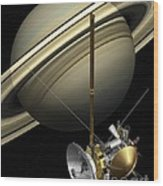 Cassini-huygens Probe And Saturn, Artwork Wood Print