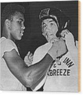 Cassius Clay And Johansson Wood Print