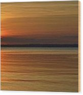 Cast Away - Young Child Fishing From A Pier On The Indian River Bay As The Sun Sets Across The Water Wood Print
