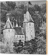 Castell Coch Mono Wood Print