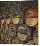Castello Di Amorosa Of California Wine Barrels Wood Print