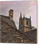 Sunset At Castle Comb Church - Wilshire England Wood Print
