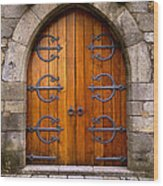 Castle Door Wood Print by Carlos Caetano