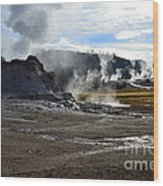 Castle Geyser In Yellowstone National Park Wood Print