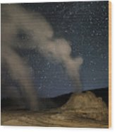 Castle Geyser With Milky Way In Lower Wood Print