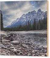 Castle Mountain River View Wood Print