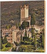 Sunset On The Castle On Lake Garda Italy Wood Print