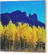 Autumn Castle Rock Aspens Wood Print