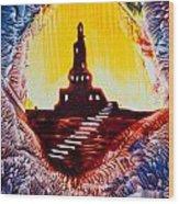 Castle Rock Silhouette Painting In Wax Wood Print
