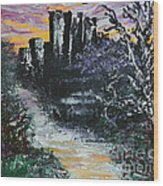 Castle Ruins At Dawn Wood Print