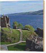 Castle Ruins On Loch Ness Wood Print