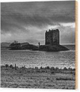 Castle Stalker Bw Wood Print