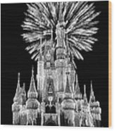 Castle With Fireworks In Black And White Walt Disney World Wood Print