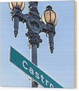 Castro Lightpole Wood Print