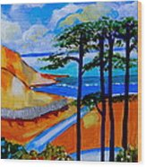 Caswell Bay Wales Wood Print