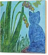 Cat And Butterflies Wood Print