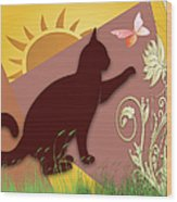 Cat And Butterfly Wood Print