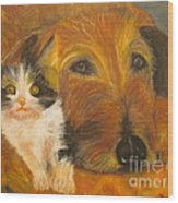 Cat And Dog Original Oil Painting  Wood Print
