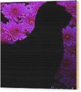Cat And Flowers Midnight Silhouette Wood Print