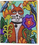 Cat And Four Birds Wood Print