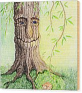 Cat And Great Mother Tree Wood Print