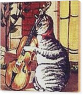 Cat And The Fiddle Wood Print