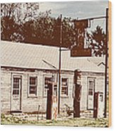 Cat Cabins And Gas Station Wood Print