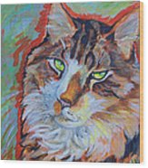 Cat Commission Wood Print by Jenn Cunningham