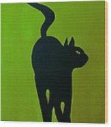 Cat Dance In Green Wood Print