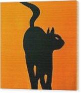 Cat Dance In Orange Wood Print