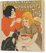 Cat Enjoys Chocolates And Tea Wood Print