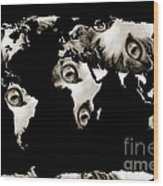 Cat Eyes World Map Wood Print