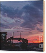 Cat Grader Sunset Silhouette Wood Print