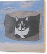 Cat In A Bag Wood Print