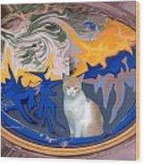 Cat In Doorway Fantasy Wood Print