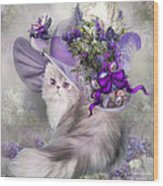 Cat In Easter Lilac Hat Wood Print