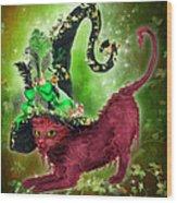 Cat In Fancy Witch Hat 2 Wood Print