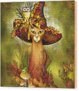Cat In Fancy Witch Hat 3 Wood Print