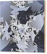 Cat In Fractaldesign Wood Print