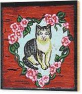 Cat In Heart Wreath 1 Wood Print