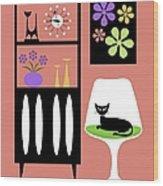 Cat In Pink Room Wood Print