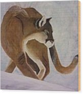 Cat In Snow Wood Print