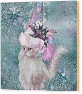 Cat In Snowflake Hat Wood Print