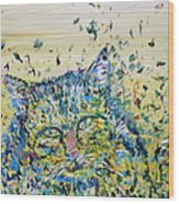 Cat In The Grass Wood Print