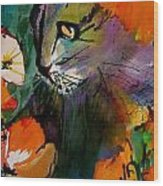 Cat In The Poppies Wood Print