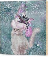 Cat In The Snowflake Santa Hat Wood Print