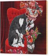 Cat In The Valentine Steam Punk Hat Wood Print