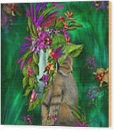 Cat In Tropical Dreams Hat Wood Print