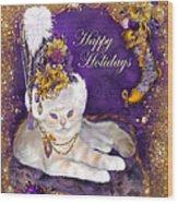 Cat In Victorian Santa Hat Wood Print
